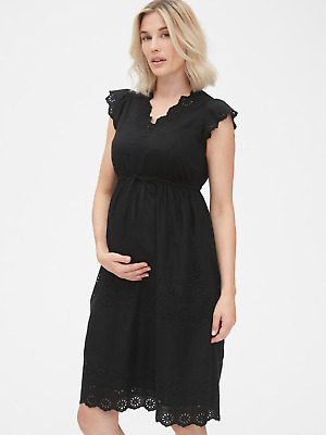 Gap 442895 Maternity Eyelet Embroidered Flutter Sleeve Dress $69.95 Nwt S
