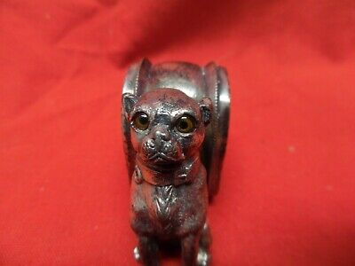 Victorian Figural Napkin Ring Silverplate Pug Dog with Glass Eyes