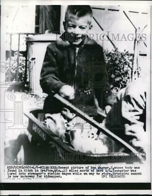 1959 Press Photo Ben Wagner 5 yrs old found dead in Grafton by his kidnaper