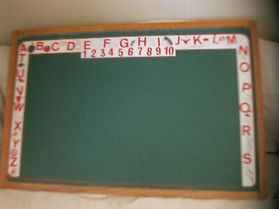 "ANTIQUE VINTAGE CASS TOYS LARGE 37"" CHALKBOARD W/ OAK FRAME abc's numbers"
