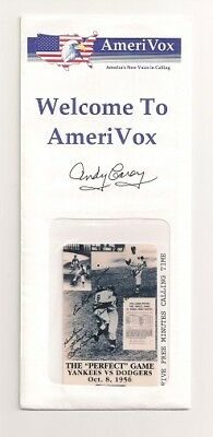 "Andy Carey Signed Amerivox Phone Card The ""Perfect"" Game  Ny Yankees......$15.95"