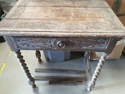 Antique Rustic Side Carved Oak Table In Need Of Full Refurb