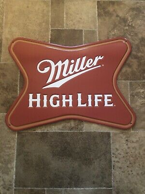 (L@@K) Miller High Life Beer Soft Cross Tin Sign Game Room Man Cave NEW Bar Pub