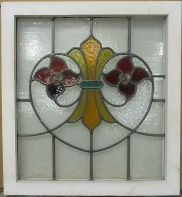 "OLD ENGLISH LEADED STAIN GLASS WINDOW Stunning Floral Fleur de Lis 20.25"" x 22"""