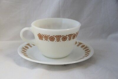 Corelle Pyrex Butterfly Gold Cup and Saucer Set Corning