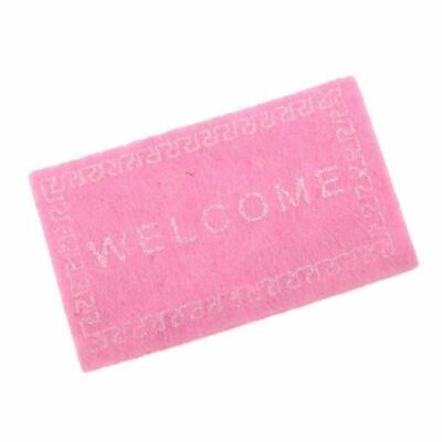 Doll House Miniature carpet WELCOME Mat Dollhouse Accessories Pink O3G1