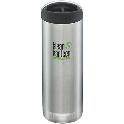 Klean Kanteen TKWide 473ml Botella Agua Aislante Cafe Cap Brushed Stainless