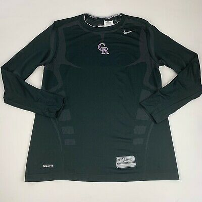 Nike Pro Compression Shirt Colorado Rockies Men Medium Fitted Black Long Sleeve