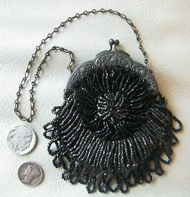 Antique Silver T Floral Frame Black Grey Bead Czech French Doll Coin Child Purse