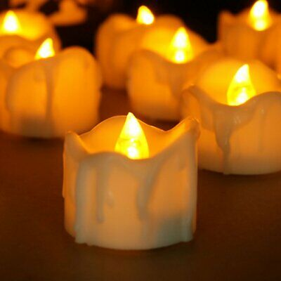 12Pcs LED Realistic Fake Flameless Candles Flickering Tea Light Home Decor AU