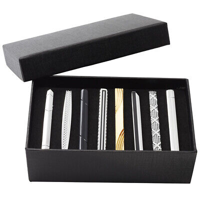 8pcs Men Stainless Steel Solid Black Ties Necktie Clasp Pin Clip Bar Jewelry