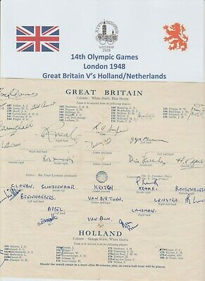 Great Britain V Holland Olympic Games 1948 Original Autographed Page 21 X Sigs