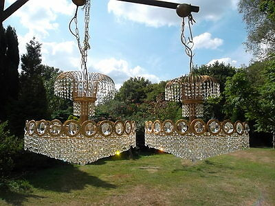 Pair of magnificent large Swa~~vski crystal chandeliers (7398)
