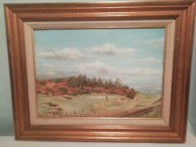 Golf Scene Oil Painting and Frame - Signed G Barry?