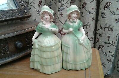 TWO...Beautiful...LADY BOOKENDS...(green/felt base)..GOOD CONDITION. Heavy!!!!!