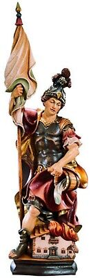 Statue St.Martin Floriano cm 20 Carved Wooden of Valgardena Decorated Hand