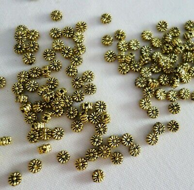50 Antique Gold Coloured 4mmx2mm Flower Spacer Beads #sp0132 Jewellery Making