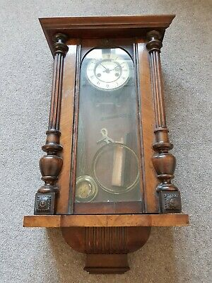 Old Wooden Wall Clock With Pendulum for spares or repair