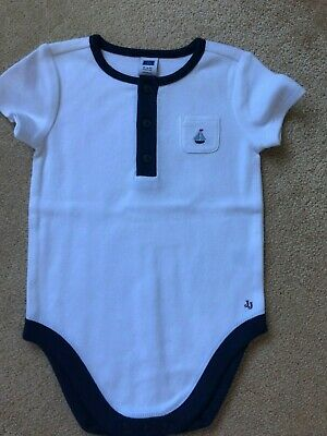 Janie and Jack_Boy Sailboat Bodysuit_White_Size 6-12 Months_NWOT