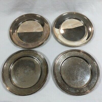 "Vintage Federal Silverplate on Copper Set of 4 Silver Plate 6"" Bread Side"
