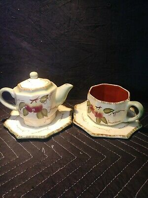 4Pc.Tea for One Teapot By Chino Fine Quality Hand Painted Apple Design.Stackable