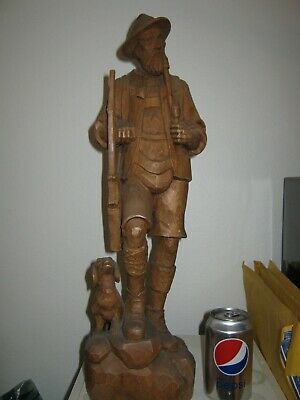 Vintage Large Germany / German Hand Carved Wooden Figurine of Hunter Rifle & Dog