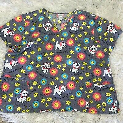 Womens 1X Scrub Top Disney Store Marie Kitten Marie From the Aristocats So CUTE!