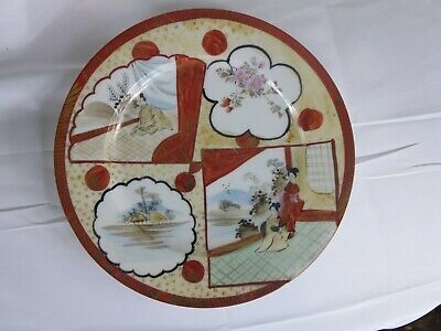 "Antique Japanese Kutani Plate ca: 1900 Meiji Period 8 1/2"" Signed Neta"