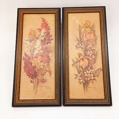 Vintage Mid Century Modern Floral Wall Art Framed Pictures Robert Laessig ANA