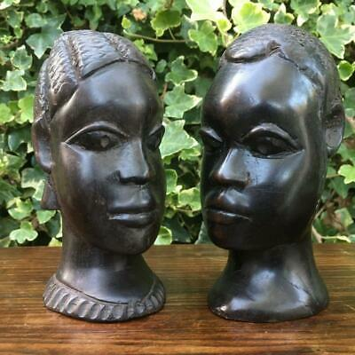Pair of Antique Ebony African Head Carvings Primitive Hand Carved Heads