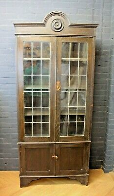 Antique Arts & Crafts Oak Glazed Leaded Bookcase with Cupboard Cabinet