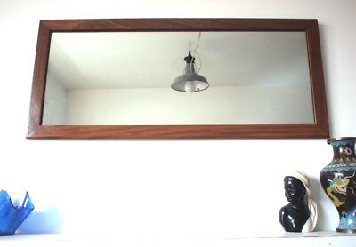 Rectangle Antique 1970s Wall Mirror Large Vintage Teak Wood Edge Vintage Retro