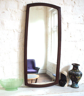 Antique 1970s Atomic Wall Mirror Large Big Teak Wood Edge Vintage Retro Danish