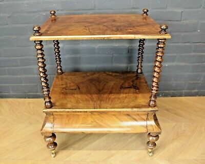 Antique Victorian Burr Walnut Barley Twist Side Table Canterbury ~ Single Drawer