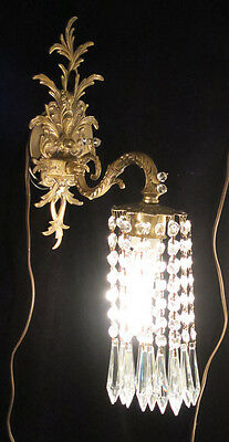 1 single ROCOCO Vintage Sconce French Brass Bronze waterfall Crystal prism