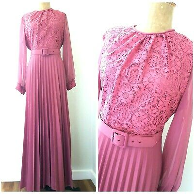 Vintage 70s Accordion Pleated Dress Size XLarge Lace Rose Maxi Cocktail Formal