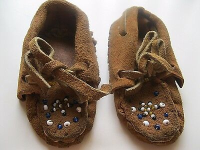 ANTIQUE BEADED CHILD'S MOCCASINS BROWN LEATHER SIZE 1 - c.1901 EXCEL COND Unisex