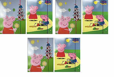 Peppa Pig Six Pack of Large Document Holders with Elastic Closure