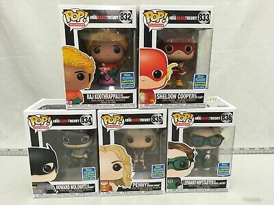 FUNKO POP Set Full Lot of 5 Big Bang Theory Cast as Justice League SDCC 2019