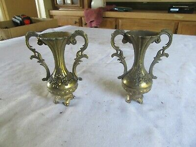 "Vintage Decorative Pair of 5"" Tall brass Candle Holders or Planters  Lot 19-63-2"