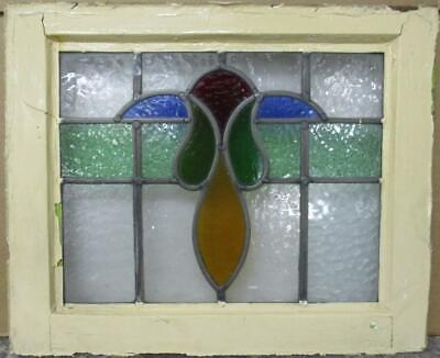 "OLD ENGLISH LEADED STAINED GLASS WINDOW Pretty Colorful Band Design 20.5"" x 17"""