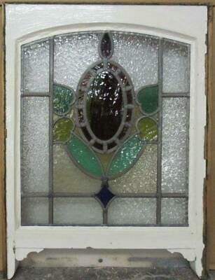 "EDWARDIAN ENGLISH LEADED STAINED GLASS SASH WINDOW Stunning Arch Top 19.5"" x 23"""