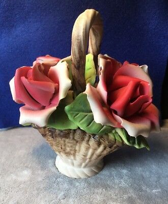 Vintage 30s Collectable Capodimonte Style ceramic flower basket Ornament