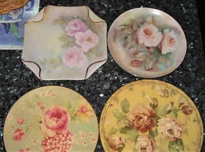 Vintage 2 Hand Painted Plates With Roses And 2 Free *Big Fortune Deco Plates Vgc