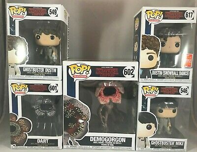 Funko POP! Stranger Things Ghostbuster Dustin & Mike, Dart, Dustin, Demogorgon +