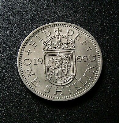 1966 Great Britain English UK Scottish Crest One Shilling Coin with Lustre - 45