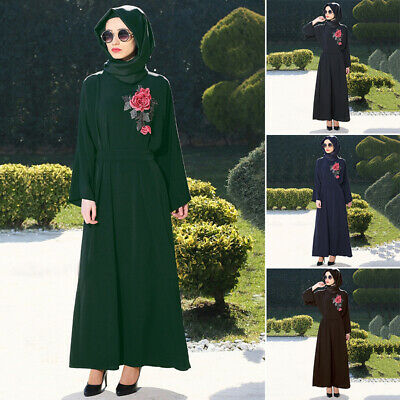 Women's Muslim Church Abaya Kaftan Arab Maxi Embroidery Long Chiffon Robe Dress