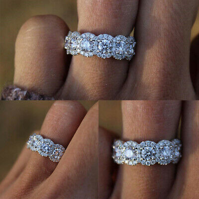 Women 925 Sterling Silver Crystal Zircon Rings Wedding Engagement Jewelry Size