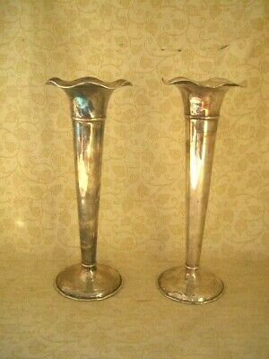 PAIR OF VINTAGE SILVER PLATED TULIP VASES ~ 24cm TALL