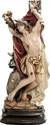 Statue St.Martin Sebastiano cm 20 Carved Wood of Valgardena Decorated by Hand